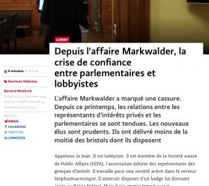 Depuis affaire Markwalder crise confiance parlementaires lobbyiste-letemps-21-12-2015
